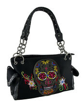 Embroidered Sugar Skull Colorful Floral Trim Concealed Carry Purse