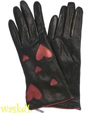 MOSCHINO black Perforated LEATHER red leather HEARTS winter gloves NWT Authentic