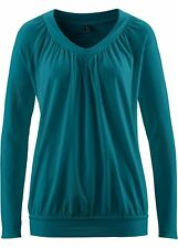 Women's Long Sleeve Shirt with small Ruffles, 214577 in Teal green