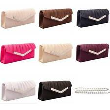 Ladies Womens Satin Clutch Handbag Purse Wedding prom Evening Shoulder New C37