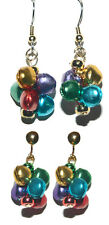 MULTI COLOR JINGLE BELL PIERCED or CLIP ON DANGLE EARRINGS (H004)