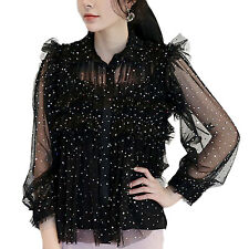 tata Gorgeous See Through Mesh Glitter blouse Sheer Shirt Prom Top Size 10-16