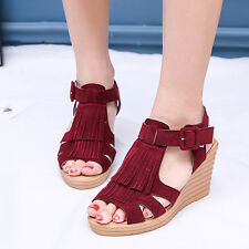 Gladiator Sandals Women Platform Wedges Sandal Fringed Sandal High Heels Shoes