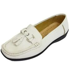 LADIES WHITE SLIP-ON PUMPS COMFY WORK MOCCASIN CASUAL COMFORT LOAFER SHOES 3-8