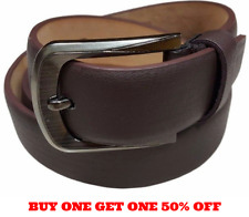 Mens Plain Brown Leather Dress Casual Belt With Removable Screw On Silver Buckle