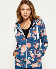 New Womens Superdry Orange Label Primary Zip Hoodie Baroque Roses Blue