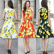 UK Retro 50s Rockabilly Hepburn Style Ladies Flared Skater Swing Dress Wiggle