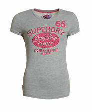 New Womens Superdry Factory Second Drag Strip T-Shirt Grey Marl