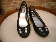 Marc Fisher Black Leather Jeweled Cadassi Ballet Flats NEW