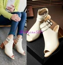 Womens Ladys chunky heel Peep Toes Buckle Slingback Ankle Boots Shoes sandal