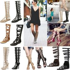 Women Ladies Knee High Summer Boots Cut Out Sandals Strappy Gladiator Flat Shoes