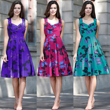 Womens 1950s Vintage Floral Style Rockabilly Cocktail Party Swing Skater Dress