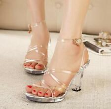 Clear Transparent Womens Sandal Wedge heel Party High Heels Strappy buckle Shoes