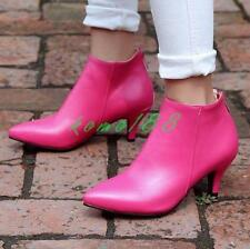 Womens Pointy Toe Mid Kitten Heel Ankle Boots Back Zip Shoes OL formal pump size