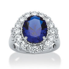 7.39 TCW Oval-Cut Sapphire and Round Cubic Zirconia Ring in Platinum over Sterli