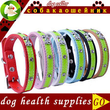 Dog Collar Rhinestone PU Leather pet puppy Collar Adjustable Pet cat Neck Strap