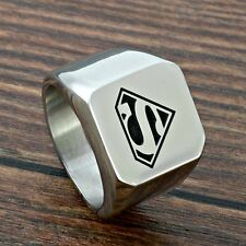 Silver Superman Hero Mens Rings Jewelry Stainless Steel Ring Band Fashion Punk