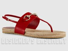GUCCI red Patent Leather RAFFIA gold HORSEBIT thong sandals NIB Authentic $440!