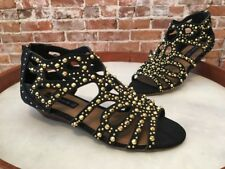 Steve Madden Trex Black Suede Studded Gladiator Wedge Sandal NEW