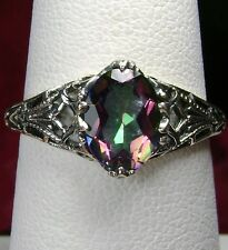 1ct Natural Mystic Topaz Sterling Silver Victorian Filigree Ring {Made To Order}