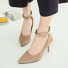 Womens heels Women Pumps Faux Suede Ankle Strap Shoes Woman High Heels pumps