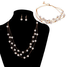 Multi Strand Pearl Necklace Multilayer Chain Bracelet And Earrings Jewelry Set