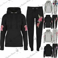Womens Ladies Rose Embroidered Pullover Hoodie Hoody Gymming Jog Tracksuit Set