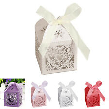 10/50/100Pcs Love Heart Favor Ribbon Gift Box Candy Boxes Wedding Party Decor