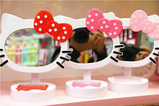 New HelloKitty Girls Desk Table Bow Make-up Mirror Cosmetic Mirror / Comb AAM031