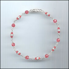 Dainty Sterling Silver Anklet with Swarovski CORAL SUNSET Crystals & Rondelles