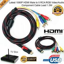 5FT / 1.5M HDMI Male to 5 RCA RGB Audio Video AV Component Cable Gold Plated