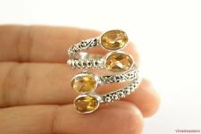 Golden Citrine Sterling Silver Wrap Ring Size 7 8 9