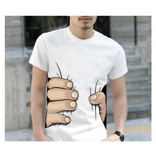 Mens Big Hand 3D Printed Funny Catch You Cotton Short Sleeve White T-shirt