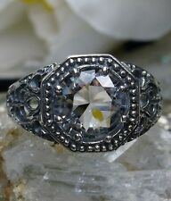2ct *White Topaz* Sterling Silver Wedding Victorian Filigree Ring Size Any/MTO