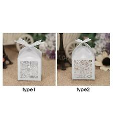 50X Laser Cut Hollow Wedding Favor Box Candy Boxes White Pearl Paper Gift O2N8