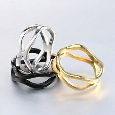 Punk Stainless Stell Men's Ring Open Cutout Rope Halo Type Irregular Gold