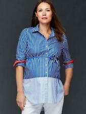 Gap Maternity NWT Blue White Striped Tie Belt Shirt Blouse Top S $50