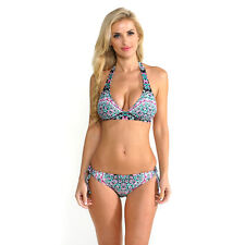 Kenneth Cole Reaction Women's Jade Medallion Floral Flounce Halter Top with Hips