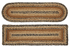 Kettle Grove Braided Stair Tread in Black, Creme and Tan, Jute, Oval or Rect.