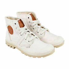 Palladium Pallabrouse Lc Mens White Canvas Casual Dress Lace Up Boots Shoes