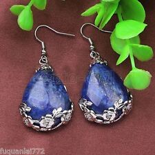Fashion Natural Blue Lapis Lazuli Stone Water Drop Silver Hook Earring