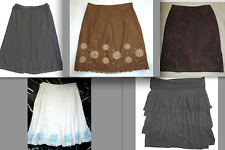 ANN TATLOR Linen EMBROIDERED BEADED SUEDE ITALIAN LEATER Crochet Layered Skirt 8