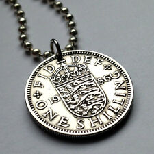 UK Great Britain shilling coin pendant British necklace 3 LIONS England n000164