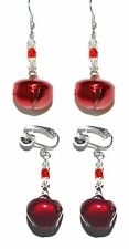 BRIGHT RED JINGLE BELL CHRISTMAS PIERCED or CLIP ON DANGLE EARRINGS (H207)