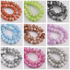 50pcs 8X6mm Marble Vein Colors Rondelle Faceted Glass Loose Spacer Beads Lot