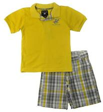Beverly Hills Polo Club Boys Yellow Polo 2pc Plaid Short Set Size 4 5/6 7 $32