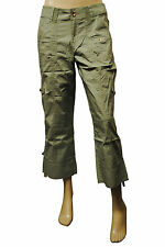 Womens Style & Co 3/4 Cargo Combat Trousers Green Size 8 Ladies C7