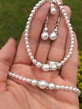 DESIGNER PEARL AND DIAMANTE BRIDAL JEWELRY SET CLASSIC NECKLACE BRACELET EARRING