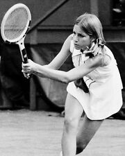 Chris Evert Playing Tennis Early 70's B&W Poster or Photo