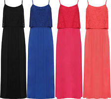 Plus Womens Long Maxi Dress Ladies Strappy Sleeveless Floral Lace Stretch New